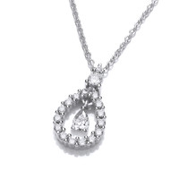 Silver and Cubic Zirconia Lantern Drop Pendant