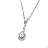 Elegant Drop Silver and Cubic Zirconia Necklace