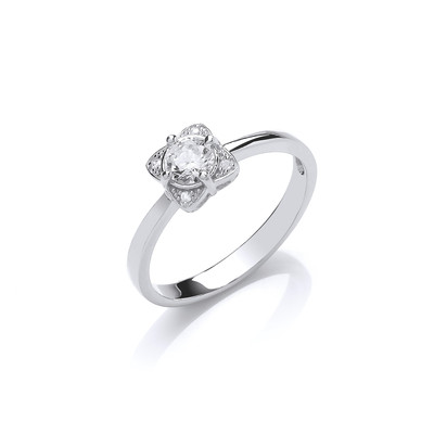 Silver and CZ Sunshine Ring
