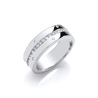 Silver and CZ Wide Channel Set Ring