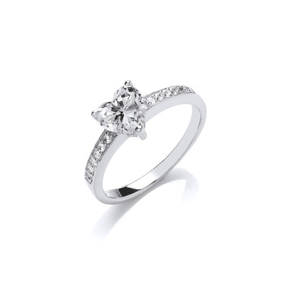 Cubic Zirconia Heart Solitaire Ring