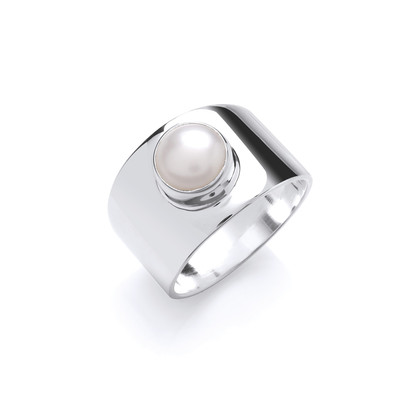 Bold Silver and Pearl Ring
