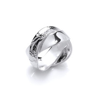 Twisted Silver Double Band Ring