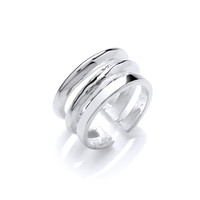 Silver Three Line Ring