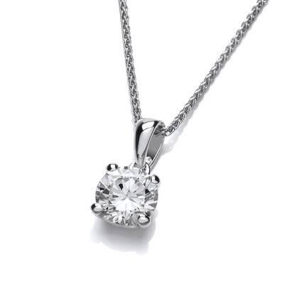 Simple Silver and Cubic Zirconia Solitaire Necklace