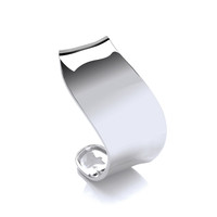 Wide Polished Silver Wave Cuff Bangle