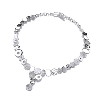 Silver Ovals of Delight Drop Necklace