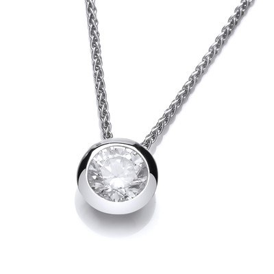 Silver Open Backed Cubic Zirconia Solitaire Necklace