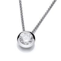 Silver Open Backed CZ Solitaire Necklace