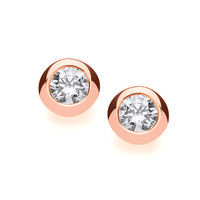 Rose Gold and Silver Open Backed CZ Solitaire Earrings