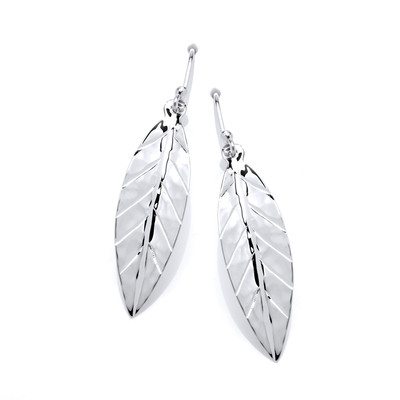 Sterling Silver Hammered Leaf Earrings