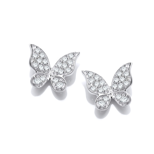 Cubic Zirconia & Silver Natural Butterfly Earrings