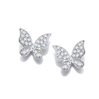 CZ and Sterling Silver Natural Butterfly Earrings