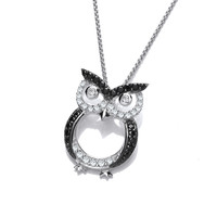 CZ and Silver Owl Pendant