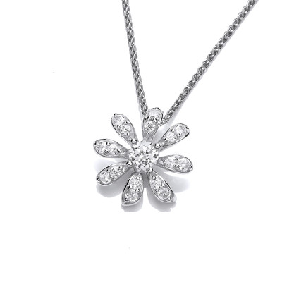 CZ and Sterling Silver Daisy Pendant without Chain