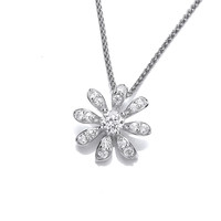 CZ and Sterling Silver Daisy Pendant