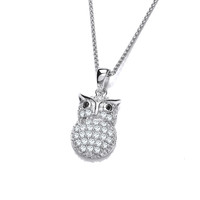 Silver and Sparkles Owl Pendant