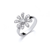 CZ and Sterling Silver Daisy Ring