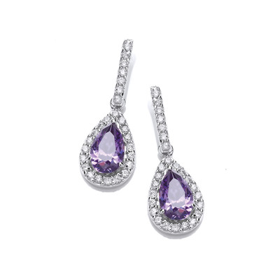 Ornate Silver & Amethyst Cubic Zirconia Teardrop Earrings