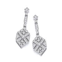 Silver and CZ Victorian Style Hexagon Drop Earrings