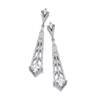 Silver and CZ Deco Style Chandelier Earrings