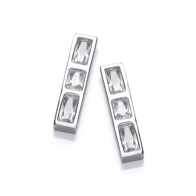 Silver & Cubic Zirconia Ingot Earrings