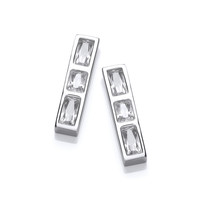 Silver and CZ Ingot Earrings