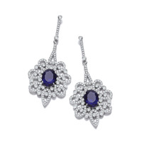 Silver and Sapphire CZ Belle Epoque Earrings