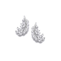 Silver and CZ Feather Earrings