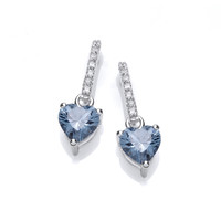 Sparkly Aqua Heart Drop Earrings