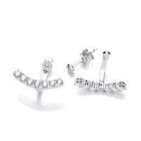 Silver and Cubic Zirconia Row Jacket Earrings