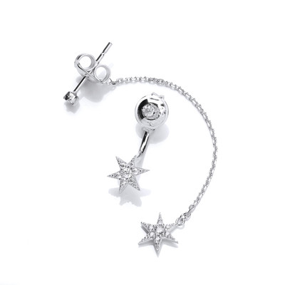 Cubic Zirconia Long & Short Star Earrings