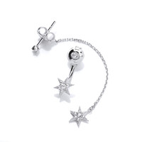 Silver and CZ Long and Short Star Earrings