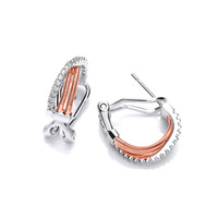 Silver, CZ and Rose Gold Rope Hoop Earrings
