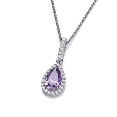 Ornate Silver and Amethyst CZ Teardrop Pendant