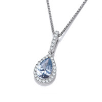 Ornate Silver and Aqua CZ Teardrop Pendant