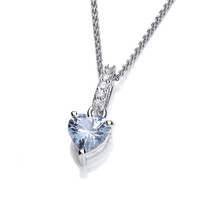 Sparkly Little Aqua Drop Heart Pendant