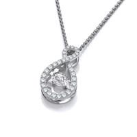 Silver and Dancing CZ Infinity Pendant