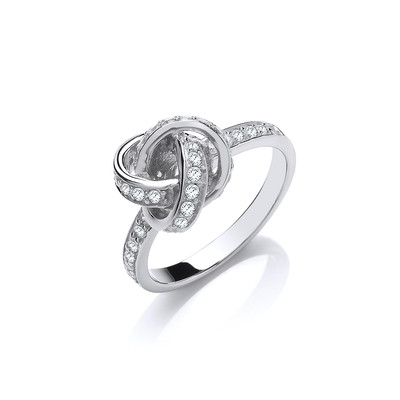 Silver and CZ Knot Ring