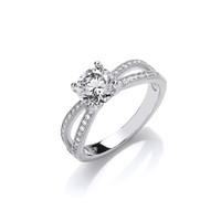 Silver and CZ Solitaire Ring with Twin Stone Set Band