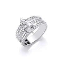 Silver and CZ Triple Band Marquise Ring