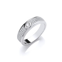 Silver and CZ Triple Band with Solitaire Ring
