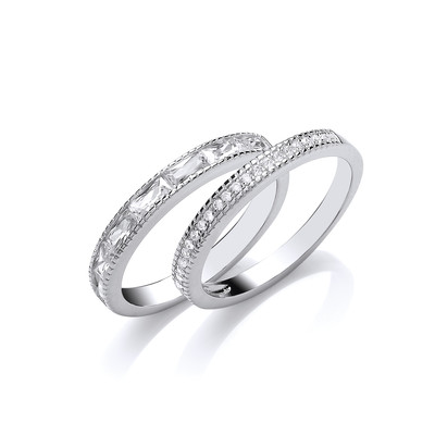Silver and CZ  Double Band Ring