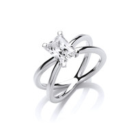 Silver and Emerald Cut CZ Solitaire Ring