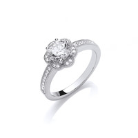 Silver and CZ Flower Ring