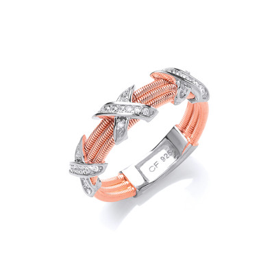 Silver and CZ Rose Gold Kiss Ring
