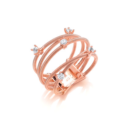 Silver and Rose Gold Strand Ring