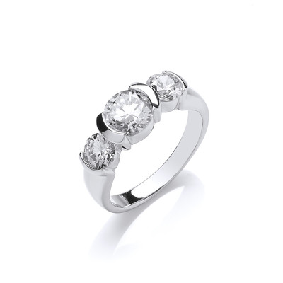 Silver and CZ Triple Solitaire Ring