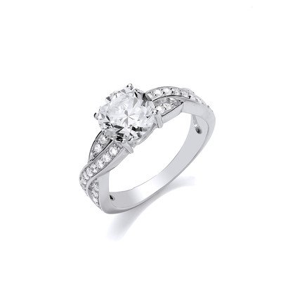 Silver and CZ Solitaire Twist Ring