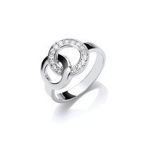Silver and CZ Round Infinity Ring